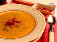 Sopa de Abóbora e Alho Francês com Bacon Crocante