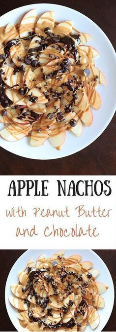 Apple Nachos with peanut butter and chocolate drizzle. Fruit, protein and chocolate makes this a great healthy snack at any time!