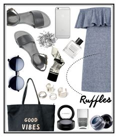 """""""Good vibes"""" by chloe-86 ❤ liked on Polyvore featuring Warehouse, Charlotte Russe, Venus, Native Union, MAC Cosmetics, Nails Inc., Terre Mère, Tom Daxon and ruffles"""