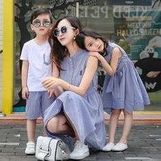 2017 Fashion Family Set Striped Mother Daughter Dresses Clothes Boy's T shirt+Shorts Clothing Sets Parent-Child Clothing DR1