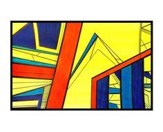 Abstract art cityscape blue yellow orange by 7RayedDesigns on Etsy Geometric Artwork, Geometric Drawing, Abstract Art, Yellow Sky, Contemporary Artwork, Vivid Colors, Original Artwork, Original Paintings, Artworks