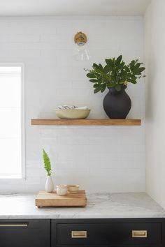 timber shelf with light above Ford Interior, Cozy Kitchen, Kitchen Ideas, Kitchen Shelves, Kitchen Reno, Kitchen Backsplash, Kitchen Storage, Kitchen Remodel, Kitchen Cabinets