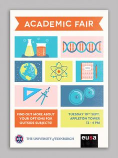 EUSA Academic Fair - Kim Cowie - Graphic Design  Illustration. Very close to what we will be creating! well a small scale version, but nice style. CCCF research