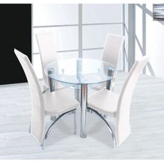 Compact Round Clear Glass Dining Set + 4 Dining Cream Chairs