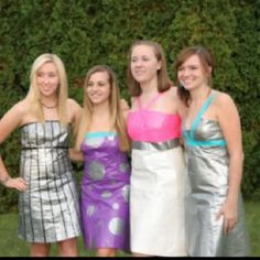 It is SO cool that they made those dresses out of ductape!