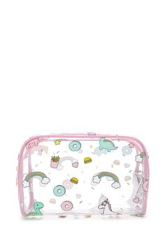 A clear makeup bag featuring a mixed print of unicorns, fast food, and dinosaurs, a contrast piped trim, and complete with an O-ring zipper top.