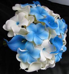 Real Touch Bouquet Blue and whtie frangipani Calla Silk Bridal Bouquet, Flower Girl Bouquet, Silk Wedding Bouquets, Flower Petals, Wedding Flowers, Baby Blue Weddings, Flower Seeds, Orange Flowers, Snowflakes