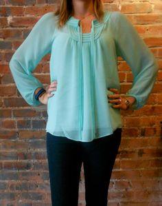 Jade scoop neck blouse in mint