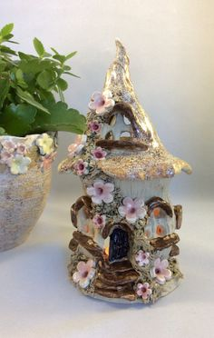 Fairy house oil burner night light house tea light by Sallyamoss
