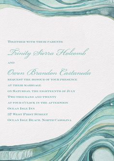 Artfully designed by Shell Rummel, these ocean waves will bring a unique touch to your special wedding day! Ocean Isle Beach, Four O Clock, Watercolor Wedding, Ocean Waves, Wedding Invitations, Shell, Wedding Day, Marriage, Touch