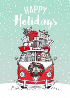 Kerstkaart met Volkswagen bus T1 met kerstman en kado's