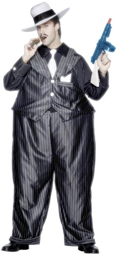 Fat Cat Gangster Costume -  a bulky fancy dress costume includes hooped trousers and top with hat and tie. Great for fancy dress parties and themed events.