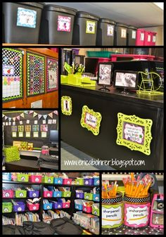 Erica's Ed-Ventures: Black & White Polka Dot Plus Brights Classroom Reveal