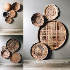 How to arrange a basket wall like a boss - How to arrange a basket wall like a boss – Doug and Fir Das schönste Bild für trends moodboard - Cactus Wall Art, Diy Wall Decor, Plate Wall Decor, Creative Wall Decor, Metal Wall Art Decor, Wall Decor Design, Wall Decorations, Boho Living Room, Basket Decoration