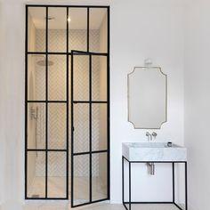 Black Framed Steel Windows Room Divider Wall Glass Partition Wall, Steel Doors And Windows, Room Divider Walls, Black Toilet, Window Wall, Shower Doors, Bathroom Inspiration, Room Interior, Glass Door
