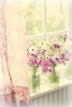 reds that have faded to pinks... casual handfuls of flowers... mason jars used as vases... bokeh... faded beauty... look out my window by lucia and mapp, via Flickr