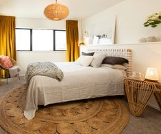 Team yellow, Amy and Stu, pulled off win after win on this season of The Block NZ. See inside their sunshine yellow home here. Bedroom Furniture, Bedroom Decor, Bedroom Ideas, The Block Nz, Inside Home, Awesome Bedrooms, Home Interior Design, Decor Styles, Master Bedroom
