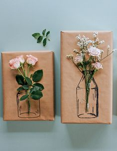 Try this Simple Floral Gift Wrapping! Diy Gifts For Him, Cute Gifts, Gifts For Kids, Birthday Gift Wrapping, Birthday Gifts, Birthday Gift For Friend, Gift Wrapping Ideas For Birthdays, Creative Gift Wrapping, Creative Gifts