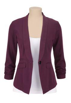 Purple One Button 3/4 Sleeve Blazer - maurices.com