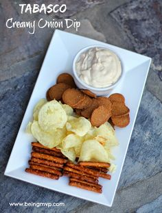 Game day snacking with Tabasco Creamy Onion Dip made in minutes - only 4 ingredients! #TabascoHellmanns #spon
