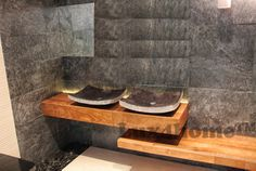 Marble washbasins - Lux4home™. Natural stone sinks - model ZEN305 black marble