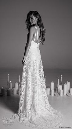rime arodaky fall 2017 bridal double thin strap deep sweetheart neckline heavily embellished bodice retro sheath wedding dress a  line overskirt sweep train (17) bv