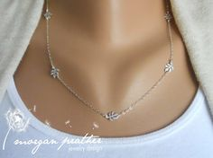 Tiny Vine Necklace  white gray leaf branch by thelovelyraindrop, $30.00