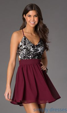 Shop Simply Dresses for open back party dresses under 100. Buy sequin dresses with spaghetti straps for semi formal dance receptions.