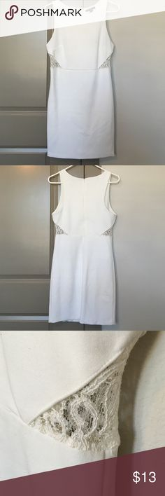 White Forever 21 Dress Zips in the back. Lace cutouts on the sides. Super cute on! Forever 21 Dresses Mini