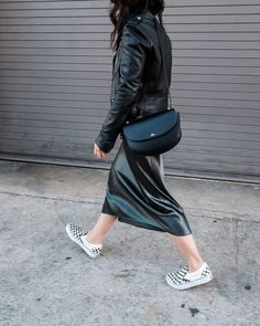 What I'm Wearing: Vince Silk Slip Dress via Stitch Fix, Michael Kors Moto Jacket (old, similar here), Vans Classic Slips-On Sneakers. Holiday Outfits, Summer Outfits, Nerd Chic, Skirt And Sneakers, Lil Black Dress, Vans Slip On, Minimalist Fashion, Minimalist Style, Silk Slip