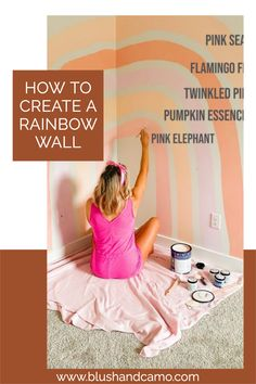 Here is my step by step process for creating your very own rainbow wall! This would look amazing in any nursery (for a boy you could switch up the colors!) or little kids room. #nursery #nurserydecor #nurseryideas #nurserytheme #rainbowtheme #rainbowwall