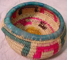 Wounaan Tribe Bright Colors Woven Basket-Panama 3.51641