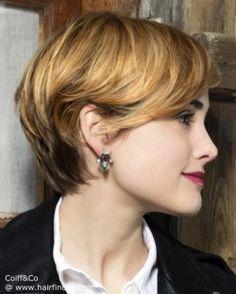 Pixie cut with longer neck hair.