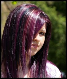 violet red hair with highlighs | rainbow hair is wicked =D