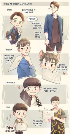 How to hold manclutch(EXO styles) #EXO #fanart #cute #Chen #Xiumin #Chanyeol #Kyungsoo