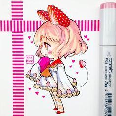 Anime Neko, Cute Anime Chibi, Kawaii Chibi, Kawaii Anime, Copic Marker Art, Copic Art, Kawaii Drawings, Cute Drawings, Art Kawaii