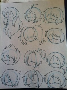 Manga Drawing Techniques Various hair styles by MagicalPouchOfMagic - Drawing Base, Manga Drawing, Drawing Sketches, Chibi Drawing, Drawing Ideas, Drawing Tips, Cartoon Drawings, Cute Drawings, Drawings Of Hair