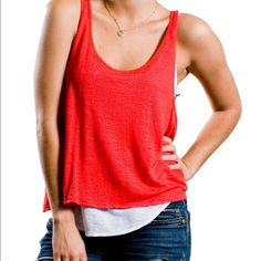 NWT Patterson J Kincaid Button Back Tank Red color with button up back. Brand new! PJK specializes in ultra-chic basics with thoughtful elements like vintage inspired trim details, unexpected zippers and dramatic seaming.  Feminine and pretty, these pieces are the ideal choice for a year-round look. Patterson J Kincaid Tops Tank Tops