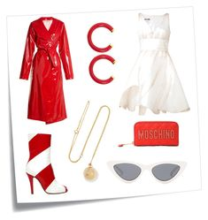 """⚪️🔴 Candyland 🔴⚪️"" by peytonboost ❤ liked on Polyvore featuring Post-It, Moschino, Maison Margiela, Kenneth Jay Lane, Attico, Le Specs, Grace Lee Designs, red, candyland and ownit"