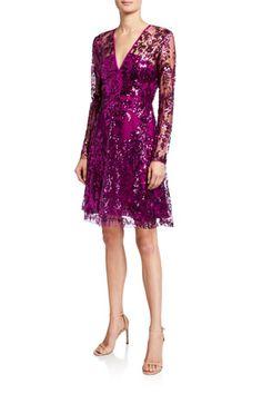 B56YP Naeem Khan V-Neck Sequined Tulle A-Line Dress Naeem Khan, Latest Fashion Dresses, Designer Cocktail Dress, Neiman Marcus, Peplum Dress, Tulle Dress, Designer Dresses, Dress Outfits, Luxury Fashion