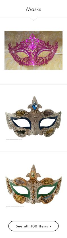 """""""Masks"""" by maxinehearts ❤ liked on Polyvore featuring masks, costumes, accessories, máscaras, lady halloween costumes, renaissance halloween costumes, party costumes, ball costume, party halloween costumes and medieval"""