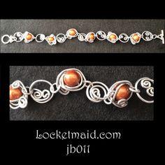 Bracelet - freeform aluminium jewellery wire with amber beads £6 on www.locketmaid.com