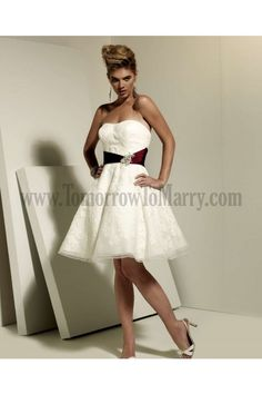 Affordable Wedding Dresses For Woman Sashes Or Ribbons Appliques Knee Length Sweetheart Sleeveless Organza Satin Hot Sale Wedding Dresses