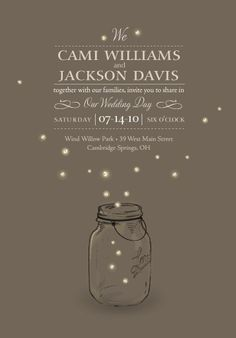 Cute idea for a summer, outdoor wedding. Firefly wedding invitation from Minted Firefly Wedding, Our Wedding, Dream Wedding, Summer Wedding, Rustic Wedding, Wedding Paper, Party Summer, Beautiful Wedding Invitations, Wedding Stationary
