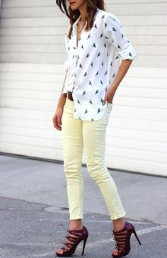 Printed blouses + pale yellow skinnies.