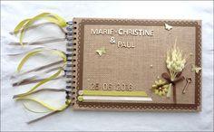 Livre d'or personnalisé pour mariage, thème champêtre/nature vert et marron