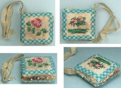 """English, c1840 - Beaded pin holder and emery. The cushion is stuffed with emery powder. Measures 1-1/4"""" square and has a silk ribbon at the corner."""
