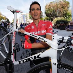Alberto Contador Velasco (b 1982); Spanish professional road racing cyclist; one of six riders to have won all three Grand Tours of road cycling; won the Tour de France (2007, 2009); won the Giro d'Italia (2008, 2015), won the Vuelta a España (2008, 2012, 2014). @bettiniphoto