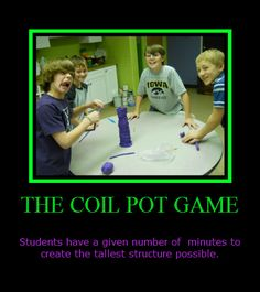 The Coil Pot Game  is ahigh energy skill game we play during those crazy days that one class is ahead, another behind, or a snow delay has ...