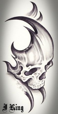 Skull Tattoo Design Tattoo Alien Old School Dark Art Drawings, Tattoo Design Drawings, Skull Tattoo Design, Pencil Art Drawings, Skull Tattoos, Art Drawings Sketches, Cool Drawings, Tribal Tattoos, Tattoo Designs